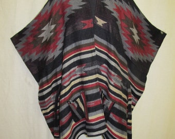 Blanket Poncho Cape 1990s Southwest Poncho Plus Size Poncho