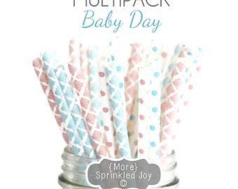 Pink, Light Blue, Light Pink, Gender Reveal, Baby Shower, Baby, Damask, Paper Straws, Multipack, Blue, Pink, Vintage, 25 Straws, 6 Designs