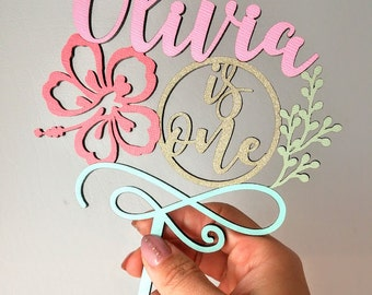 """birthday cake topper- name and age - Personalized 5"""""""