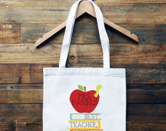 Teacher Appreciation Personalized Tote Bag // Best Teacher Ever Book Bag