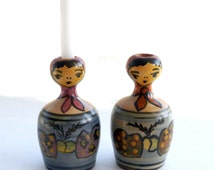 2 Ceramic Figure Candle Holders, Stoneware Lady, Pottery Candlesticks, Hand Painted Candle Holders
