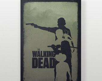 The Walking Dead Poster, Minimalist TWD Print, Rick Grimes, Daryl Dixon A3 AMC