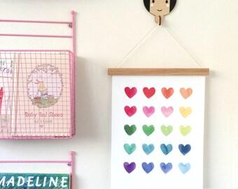 Watercolour Hearts, Rainbow Art Print, Giclee Art Print, Fine Art Print for Girls, Kids Room Art, Fine Art Print, Nursery Wall Decor, 11x14