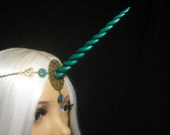 Crystal Forest Unicorn - Tiara with handsculpted pearlescent horn