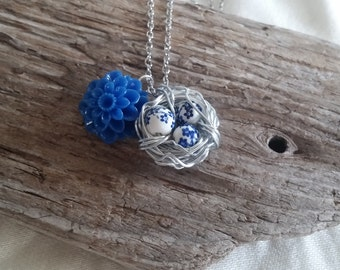 Silver Wire Wrapped Bird Nest Necklace with Blue and White Beads
