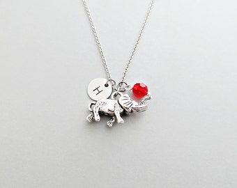 Elephant Initial Necklace Personalized Hand Stamped - with Silver Elephant Charm and Swarovski
