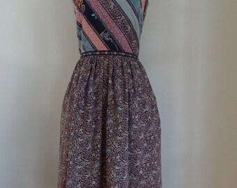70's Sundress Cotton Calico Spagetti Straps Dress Small