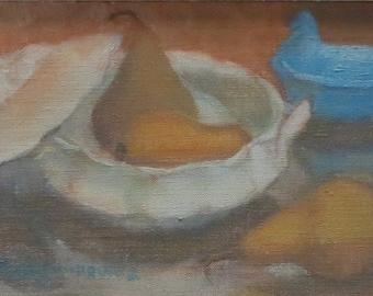 Mid Century Original Paula Algminowicz Oil On Board Painting - Still Life - Listed Artist