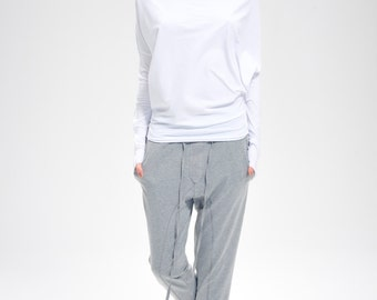 White Top/ Kundalini Yoga Top/ Oversized Long Sleeved Blouse/ White Bat Top/ Loose Top by Arya Sense/ BATD14WH