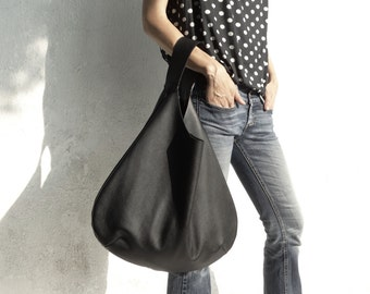 Leather Hobo Bag/Large Hobo Bag Black/Big Hobo Bag/Black Slouch Hobo Bag