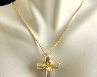 Sterling Silver And Gold Wire Wrapped Cross Pendant Necklace