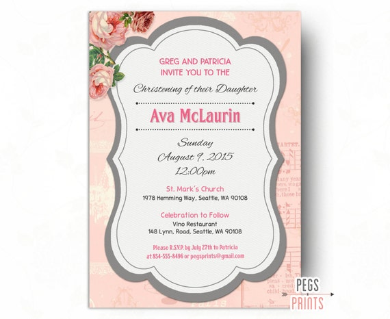 Printable Girl Christening Invitation Floral Christening Invites
