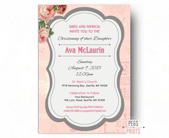 Printable Girl Christening Invitation - Floral Christening Invites ...