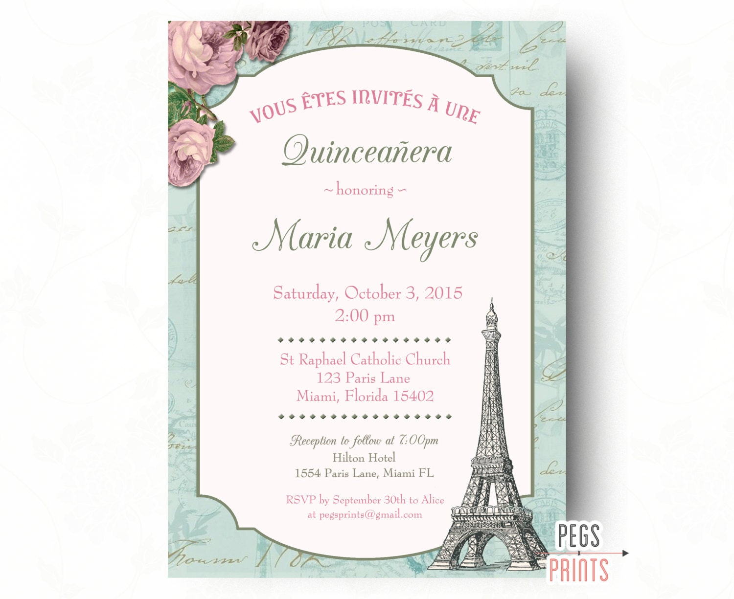Shabby Chic Quinceanera Invitation Printable Paris