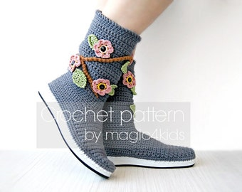 Crochet pattern- women outdoor boots with flowers,crochet boots on rubber soles,street boots,summer crochet boots,all women sizes,shoemaking