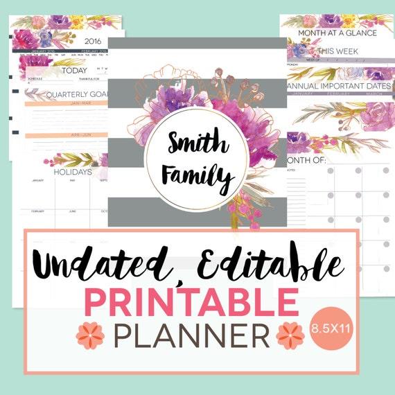 Printable Planner Undated Perpetual EDITABLE By