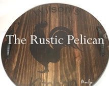 Wine Barrel - Lazy Susan -Personalized -Wood Wine Barrel -Hand Painted -Wood Wall Plaque reclaimed wood rustic decor -Bar-wine Cellar