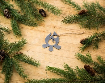 Love Campfire Christmas Ornament Rustic Metal Ornament Recycled Steel Holiday Gift Industrial Decor Wedding Favor