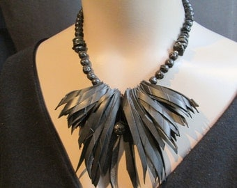 Black Statement Necklace Black Bicycle Inner Tube Lava Rock Recycled Reclaimed Upcycled Big Bold Chunky Vegan Rubber Eco Friendly Rocker