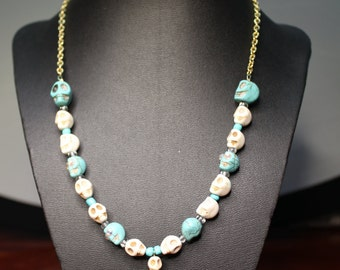 Turquoise and White Skull Necklace on Gold Chain