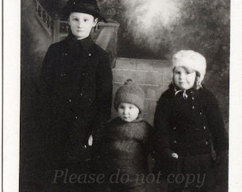 Real Photo Postcard ~  winter children ~ RPPC ~ vintage photo