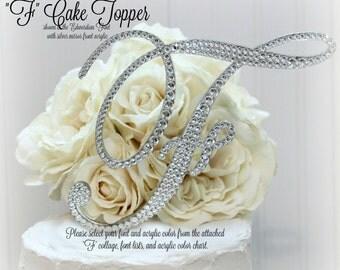 """F Wedding Cake Topper. 5"""" letter F Initial Wedding Cake Topper, F Cake Topper, F Initial Cake Topper, letter F, Swarovski Crystal Rhinestone"""