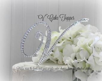 V Wedding Cake Topper, Gold V Cake Topper, Initial V Cake Topper, V monogram cake topper, letter V Cake Topper, Swarovski V Bling Rhinestone