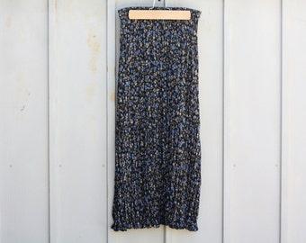 Sheer Maxi Skirt. Blue FLORAL Skirt. Flowing Calico Skirt. High Waist Skirt. 90s GRUNGE Skirt. Long Pleated Skirt. 1990s Hipster INDIE Skirt