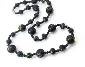 Vintage Millefiori Bead Necklace, Black, Colored, Art Glass, Murano Glass
