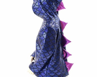 Childrens Blue Dragon Scale Long Sleeve Hoodie with Purple Fish Scale Spikes   Kids Sizes 2T 3T 4T and 5-12   152000