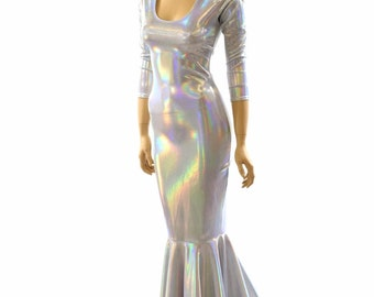 Glamorous, Bombshell Flashbulb Holographic Gown with Scoop Neckline, 3/4 Sleeves and Puddle Train   152025