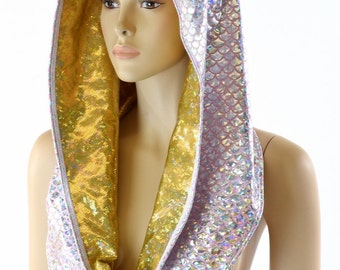 Reversible Festival Hood in Silver Pink Mermaid Scale & Gold on Gold Shattered Glass Holographic *NEW STYLE*   -152258
