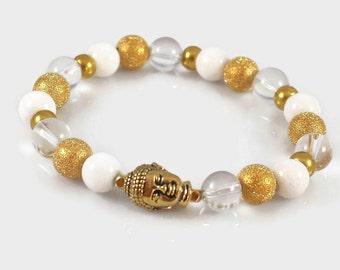 Women's Buddha Bracelet, Gift for Mom, Jade Buddha Bracelet, Yoga Bracelet, Women's Wrist Mala, Meditation Bracelet, Healing Crystals