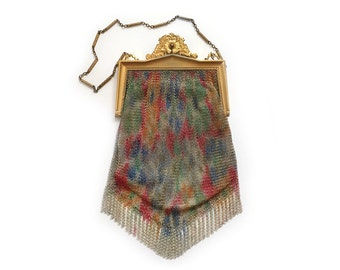 Vintage Whiting and Davis Tapestry Dresden Enamel Fine Spun Mesh Bag Multicolor 1920s