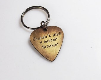Personalized Guitar Pick Keychain, Teacher Gift, Custom Key Ring, Hand Stamped, Brass or Aluminum, customized gift
