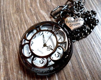 Father of The Groom Black Pocket Watch Personalized and Watch Chain Father of The Groom Gift Dad of The Groom Gift Ships to US/Canada BLFQ
