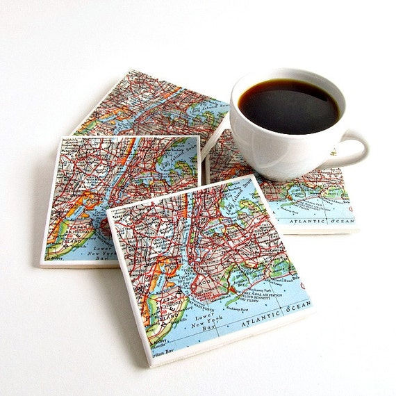 New York City Map Coasters / New York Wedding Gift / Grandparents Gift ...