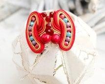 Small Red Soutache Earrings-Retro Earrings Jewellery-Red Hippie Boho Earrings-Clip-On Earrings-Kids Earrings-Beaded Earrings-