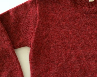 Vintage LL Bean Sweater - Red Flecked Rag Wool - Made in USA - Size M