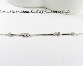 Morse Code Jewelry.Love.Mom, Sister, Dad , Aunt.Morse Code Bracelet.Heart Morse Code Bracelet Birthday Gift.