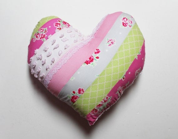 Heart Pillow Shabby Chic Striped Patchwork Cushion Heart