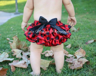Baby Bloomers, ladybug bloomers, baby girl bloomers, baby girl clothes, newborn bloomers, infant bloomers, Red and Black, diaper covers