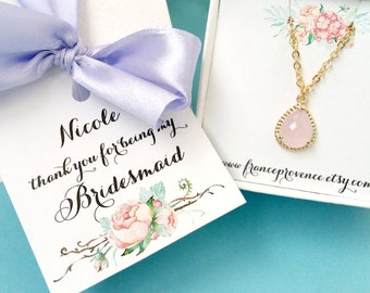 Bridesmaid necklace set of 5  blush bridesmaid jewelry - blush bridesmaid gift - blush wedding jewelry