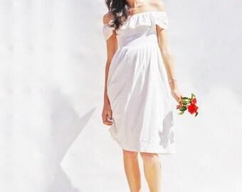 Lace Wedding Dress, Off The Shoulder Wedding Dress, Casual Wedding Dress, Short Wedding Dress, Beach Wedding, Boho Wedding Dress, Bohemian