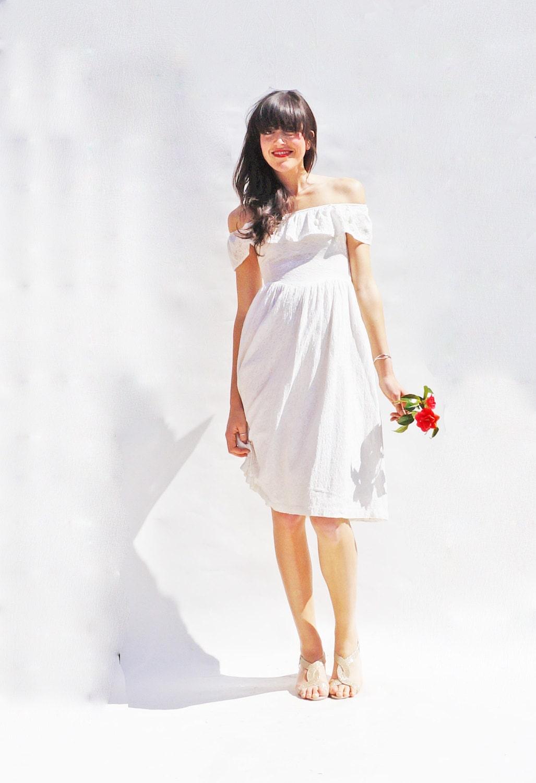 Lace wedding dress off the shoulder wedding dress casual for Casual lace wedding dress