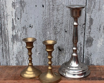 Vintage candle holders brass silver colored set of 3 candleholders 60s  50s mid century modern