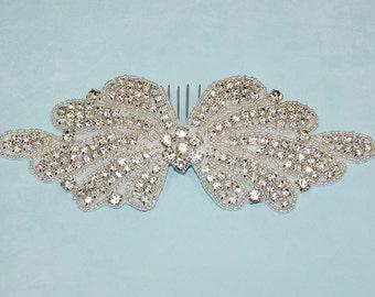 Bridal Comb, Rhinestone Wedding Hairpiece, Art Deco Hairband, Crystal Fascinator