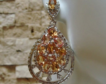 Beautiful Pink & Peach Morganite drop earring in Sterling Silver with flush set CZ