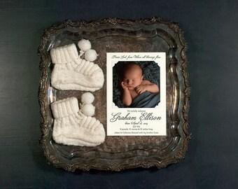 Photo Birth Announcement Digitally Printed | Photo Adoption Announcement | Personalized Photo Announcement | LARGE Announcement