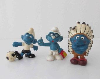 Smurf Vinyl Mini Figures Schleich Germany Chief, Soccer, Brainy Smurf Vintage